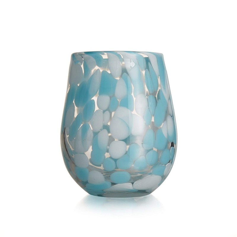 Fifth Avenue Crystal Splash Stemless Glasses (Set of 4), Aqua