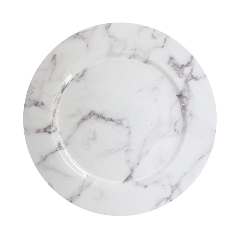 ChargeIt by Jay Marble White/Gray Round Charger Plate