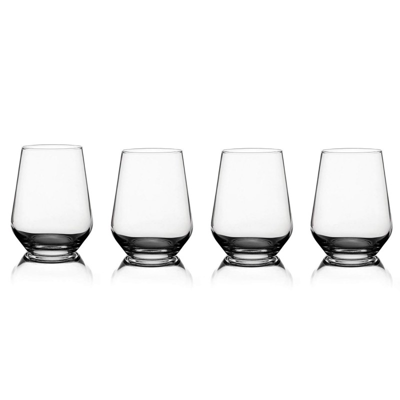 "Fitz and Floyd 229319-4STFF Chateau Stemless Glasses, 3.25"" x 3.25"" x 4.5"", Clear"