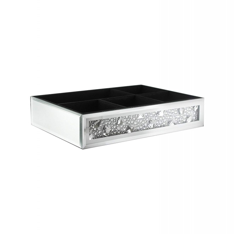 American Atelier Square Mirror Jewelry Box with Brooch-6 Inch