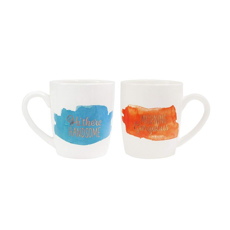 American Atelier His/Hers Set of 2 Mugs-Morning Gorgeous, Hi There Handsome