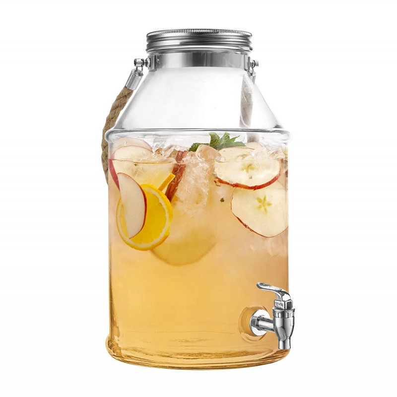 Style Setter Maxwell 210454-GB 1.7 Gallon Glass Beverage Drink Dispenser with Metal Lid & Rope Handle, 9.5x14, Clear