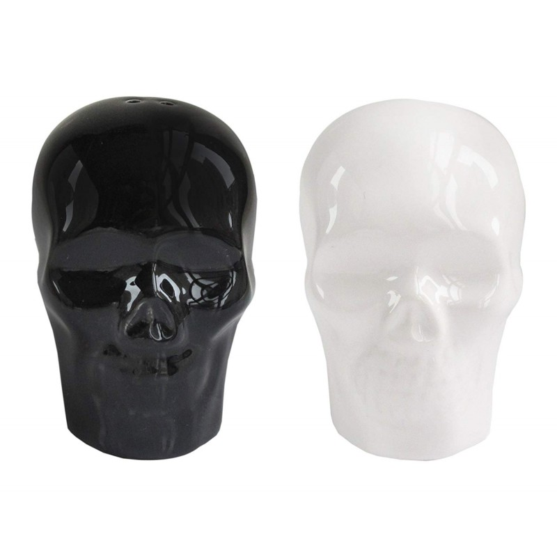 American Atelier Skulls Salt & Pepper Shakers, Black & White
