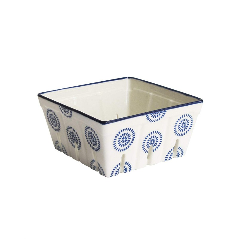 American Atelier 6469-BSKT5 Stamp Large Square Ceramic Berry Basket, Blue