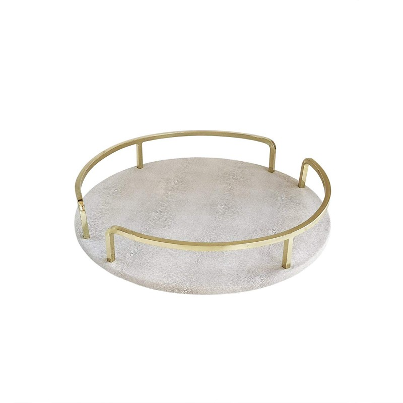 American Atelier Shagrin Rail Tray, Cream/Gold, Round