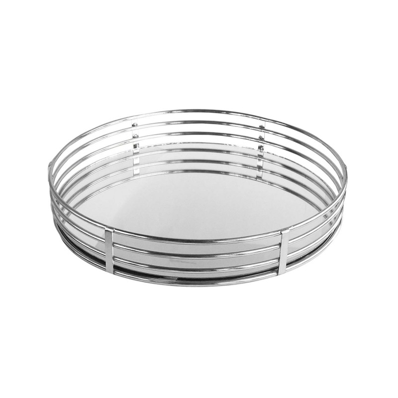 American Atelier Circle Glass Tray-Silver, Silver