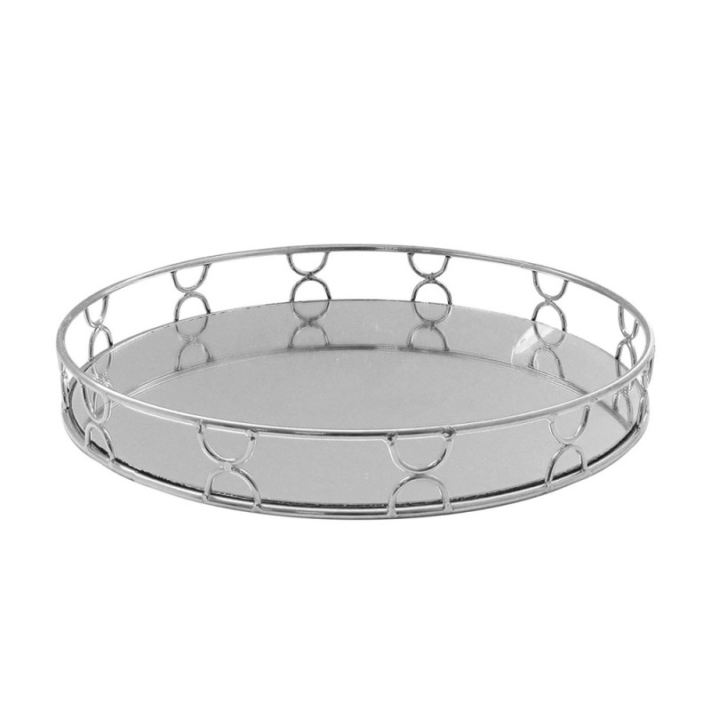 American Atelier 1330863 Knots Electroplated Round Mirror Decorative Tray with Metal Rim - Silver