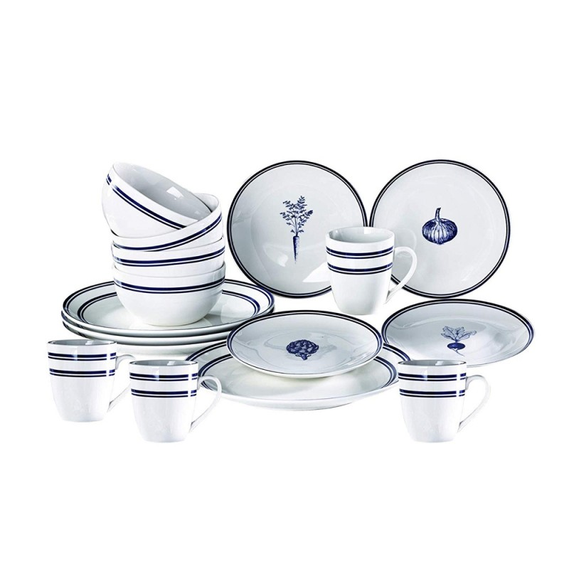 American Atelier 1562922-RB Veggies 16 Piece Round Dinnerware Set - Blue Stripe