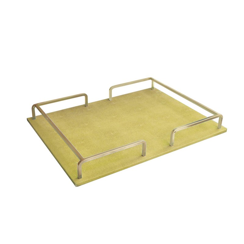 American Atelier 1330455 Shagrin Rail Tray, Gold/Gold, Rectangle