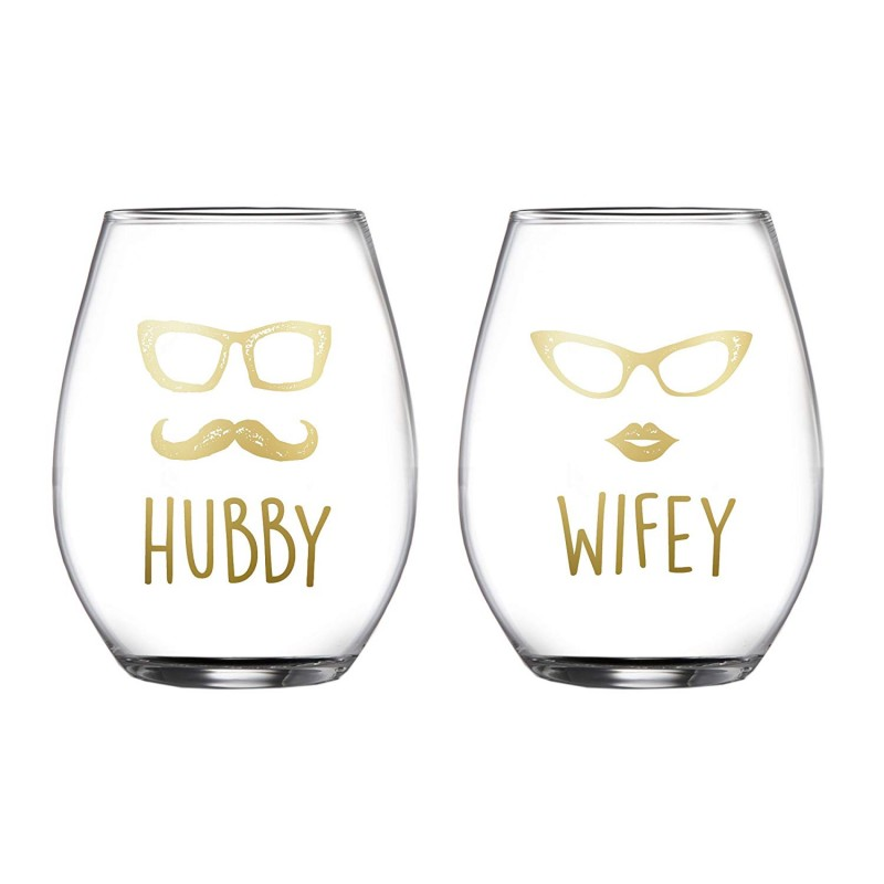 Fifth Avenue Crystal Hubby/Wifey Stemless Glasses (Set of 2), Clear