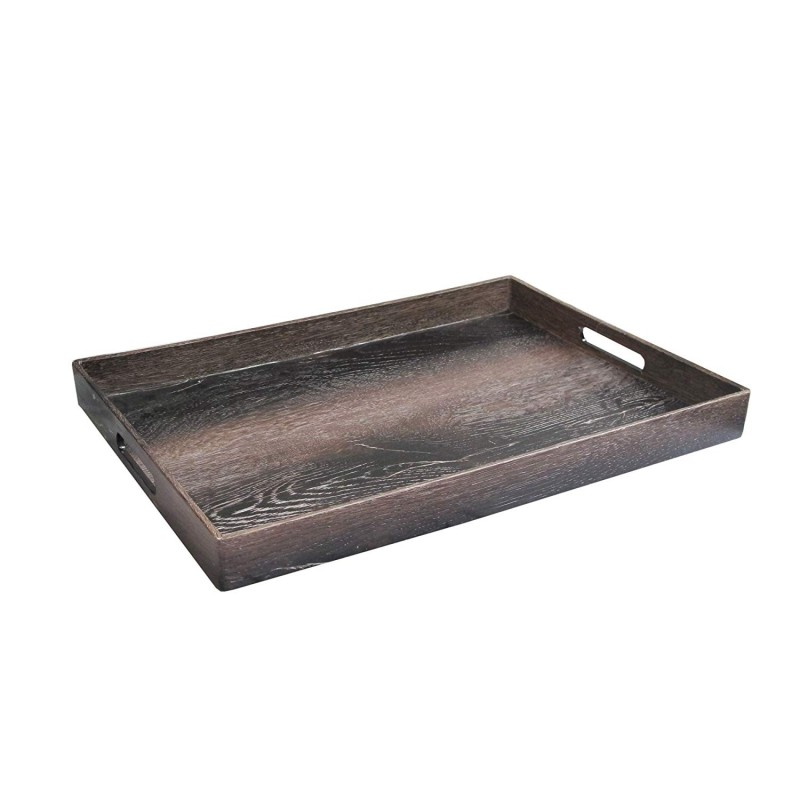 "American Atelier Rectangle Walnut Wood Serving Tray with Handles, 14"" x 19"" x 2"", Brown"