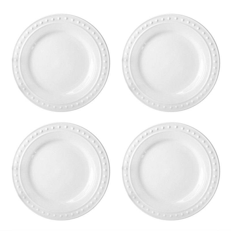 Elle Decor Monique Set of 4 White Dinner Plates