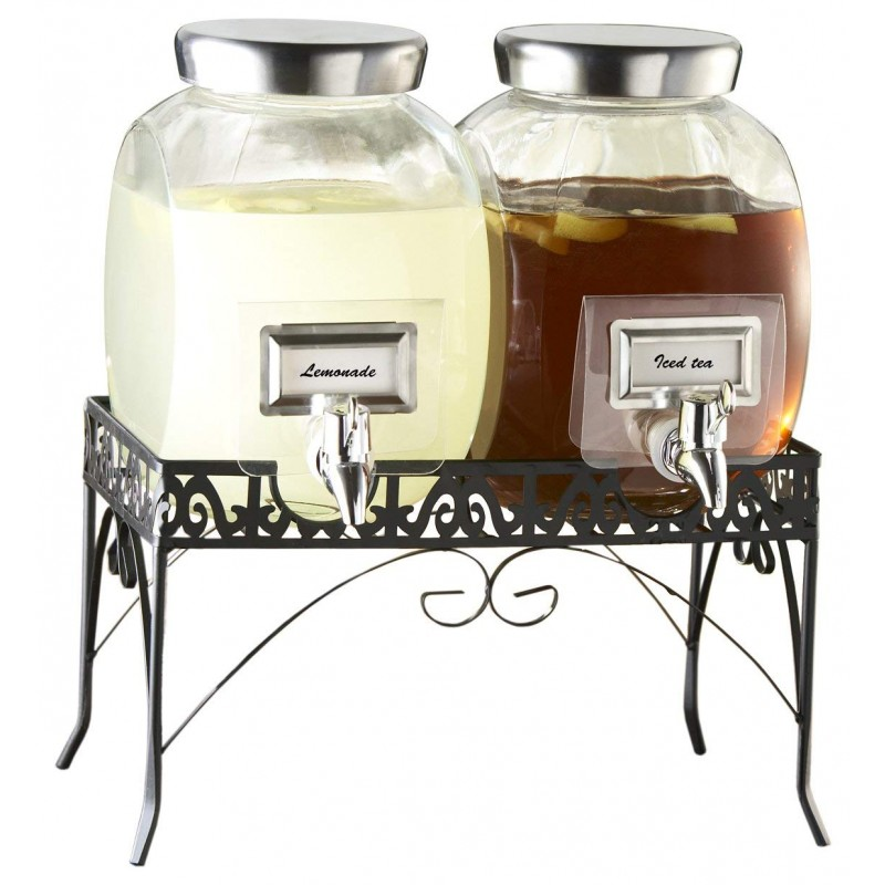 Style Setter 210981-GB Williamsburg Glass Beverage Dispenser Set with Stand, 1 Gallon Each