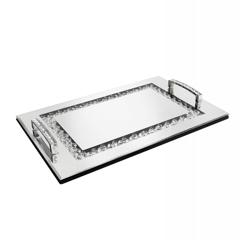 American Atelier Jeweled Decorative Tray, Silver