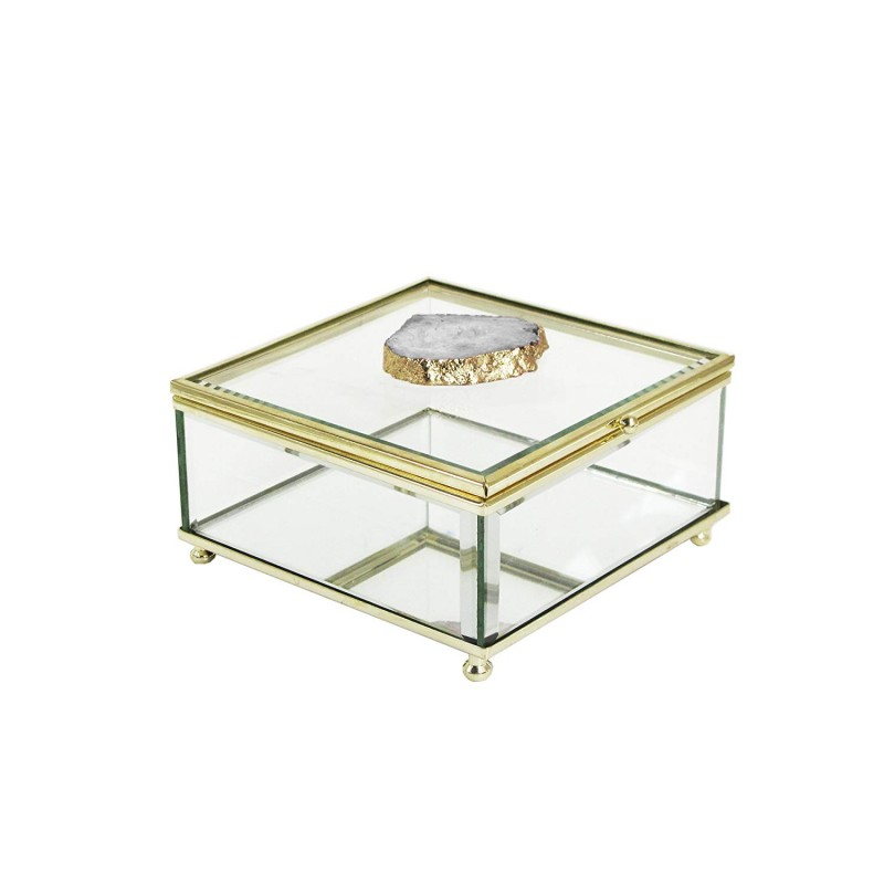 American Atelier Agate Glass Storage Box, White/Gold