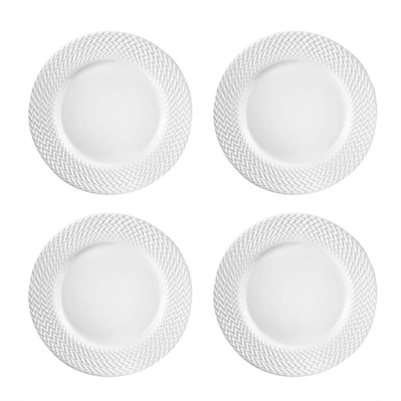 Elle Decor 6829-4D Bridgette Dinner Plates, White