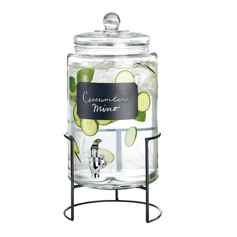 Style Setter 210174-JGB Artesia 2 Gallon Glass Beverage Drink Dispenser with Metal Stand & Glass Lid - Clear