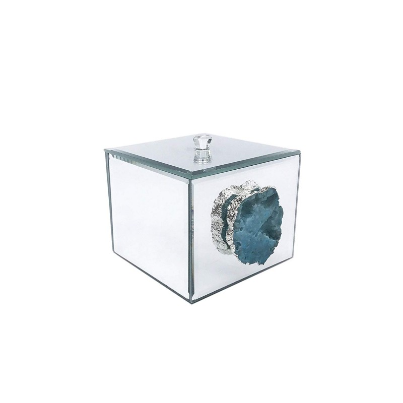 American Atelier Agate Decorative Box, Silver
