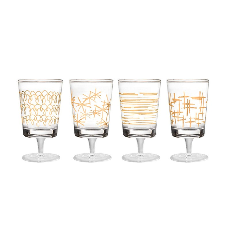 "Fifth Avenue Crystal 229298-4GWN Soiree Wine Glasses, 3"" x 3"" x 8"", Gold"