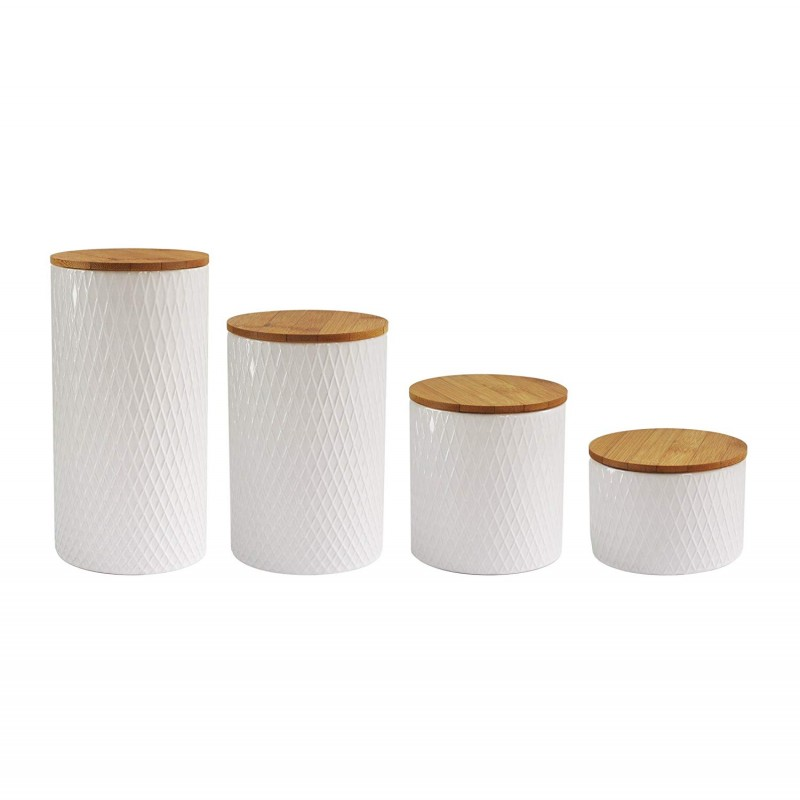"American Atelier 6863-CAN-RB Diamond Embossed Canister Set, 4.3"" x 4.3"" x 8.25"", White"