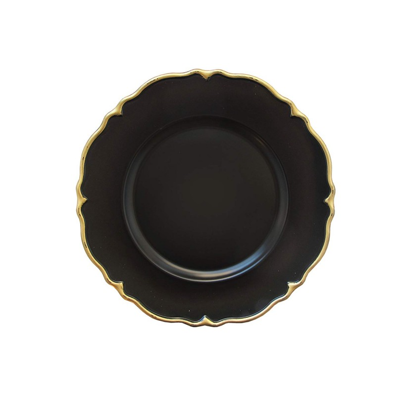 "Round Scallop Charger Plates 13"" Diameter, Set of 4 – BLACK/GOLD"