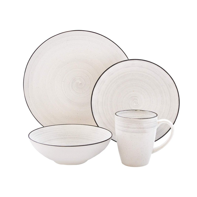 "Elle Collection 7413-16-RB Whitestone Casual Round Dinnerware Set – 16-Piece Stoneware Party-4 Dinner & 4 Salad Plates, 4 Bowls, 4 Mugs – Gift for Special Occasion or Birthday, 10.7"", White"