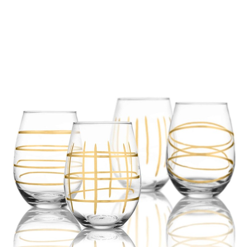 Fifth Avenue Crystal Westen Etched Set of 4 Stemless Goblets, Gold