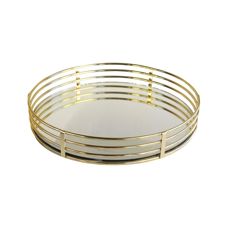 American Atelier Circle Glass Tray-Gold, Gold