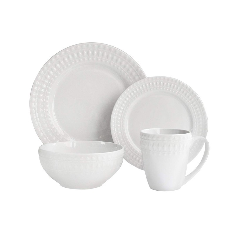 Elle Decor Amelie 16 Piece Round Dinnerware Set, White
