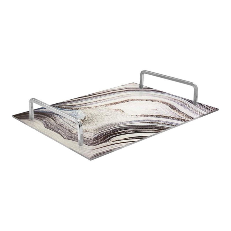 American Atelier Rectangle Mirror Decorative Tray with Metal Handles - Silver
