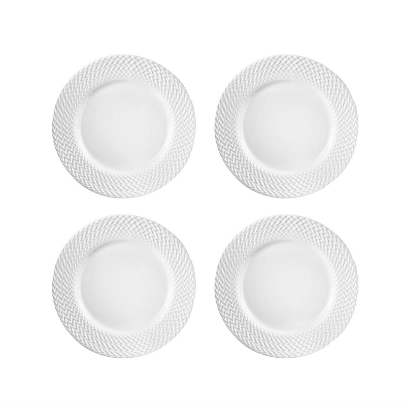 Elle Decor 6829-4S Bridgette Salad Plates, White