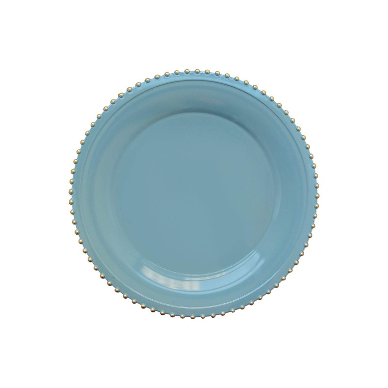 """Round Beaded Edge Charger Plates 13"""" Diameter, Set of 4 – BLUE/GOLD"""