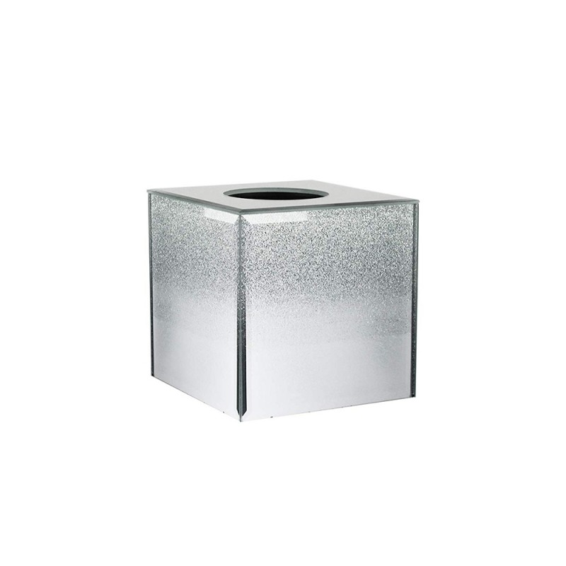 American Atelier Silver Glitter Mirror Glass Square Tissue Box Holder