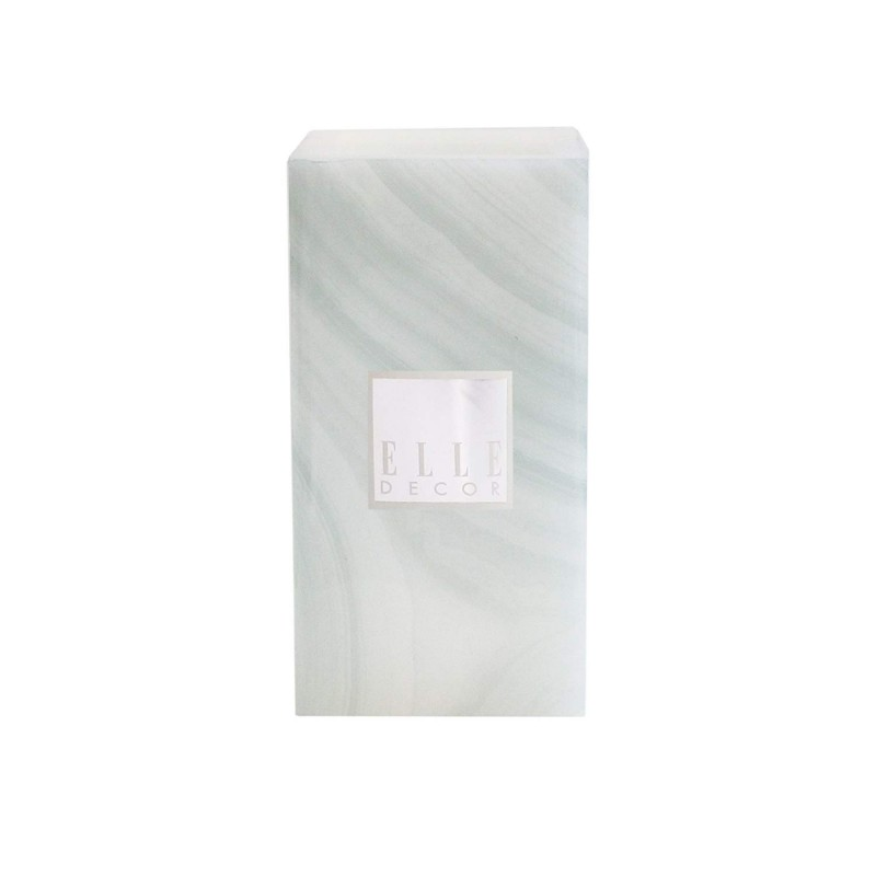 "Elle Decor 1136006GR Marble Square Pillar LED Candle 4 X 8"", Gray"