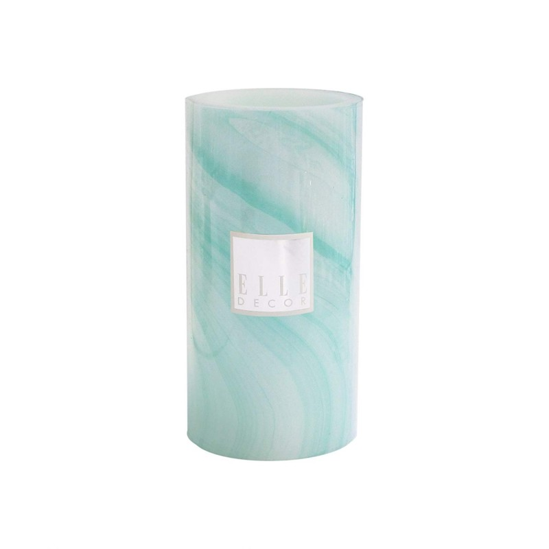 "Elle Decor Marble Round Pillar LED Candle 4 x 8"", Turquoise"