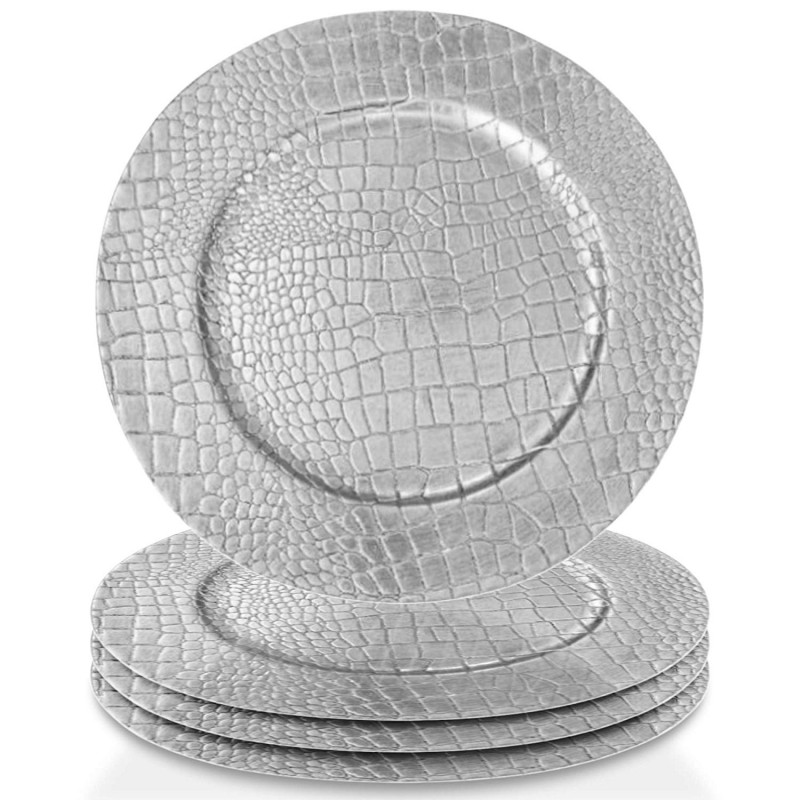 ChargeIt by Jay 1270404-4 Set of 4 Croc Round Melamine Charger Plates, Silver