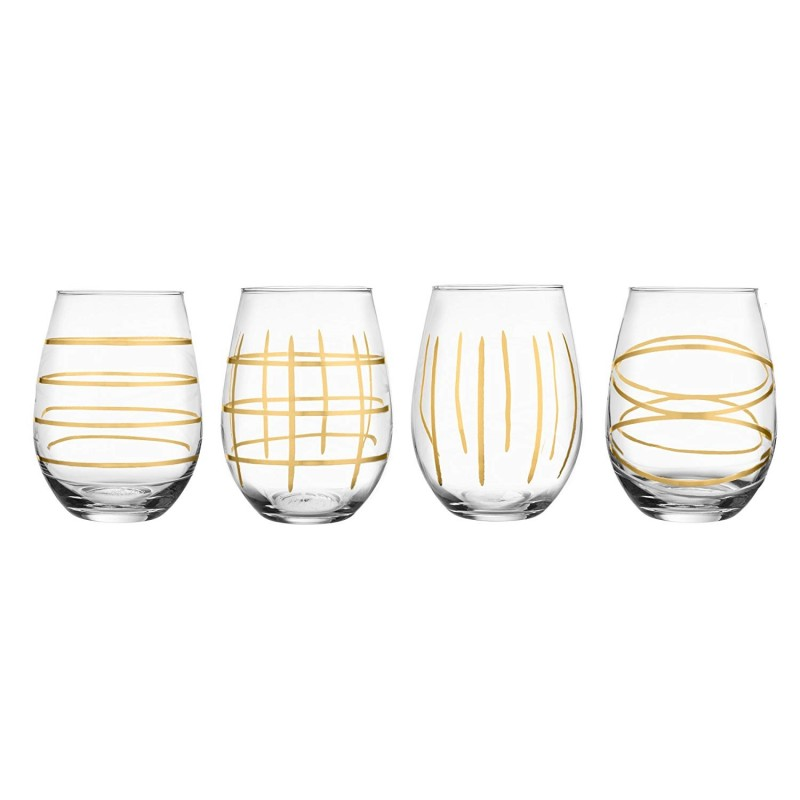 Gold Etched 229311-4STJF Stemless Wine Glass Set of 4