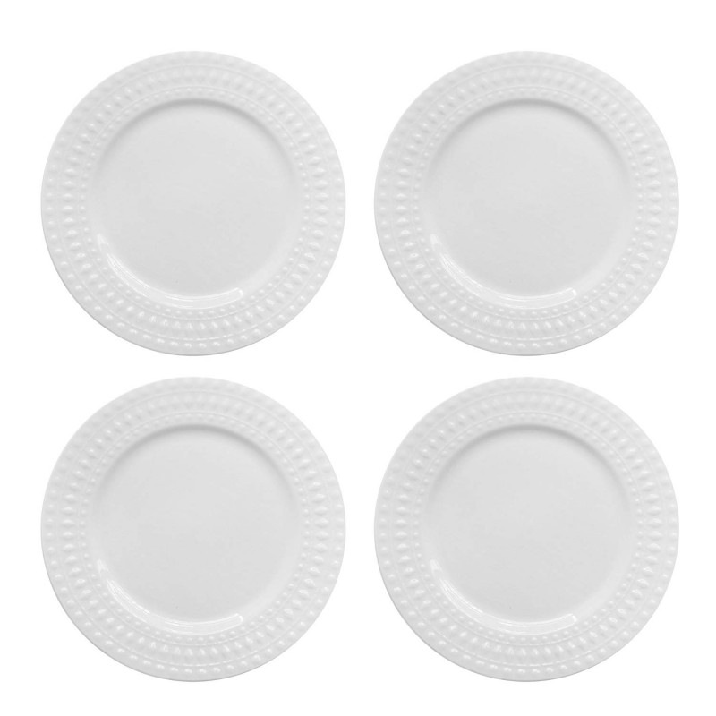 Elle Decor 6828-4D Amelie Dinner Plates, White