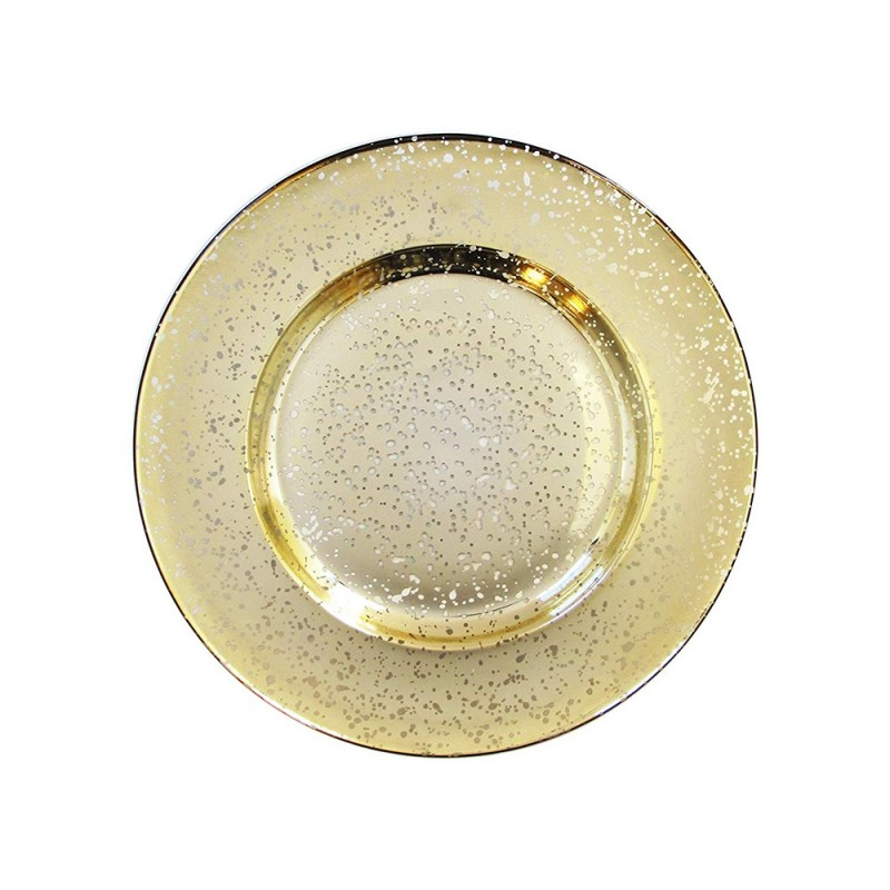 ChargeIt by Jay 1875011 Gold Speckled Glass Round Charger Plate