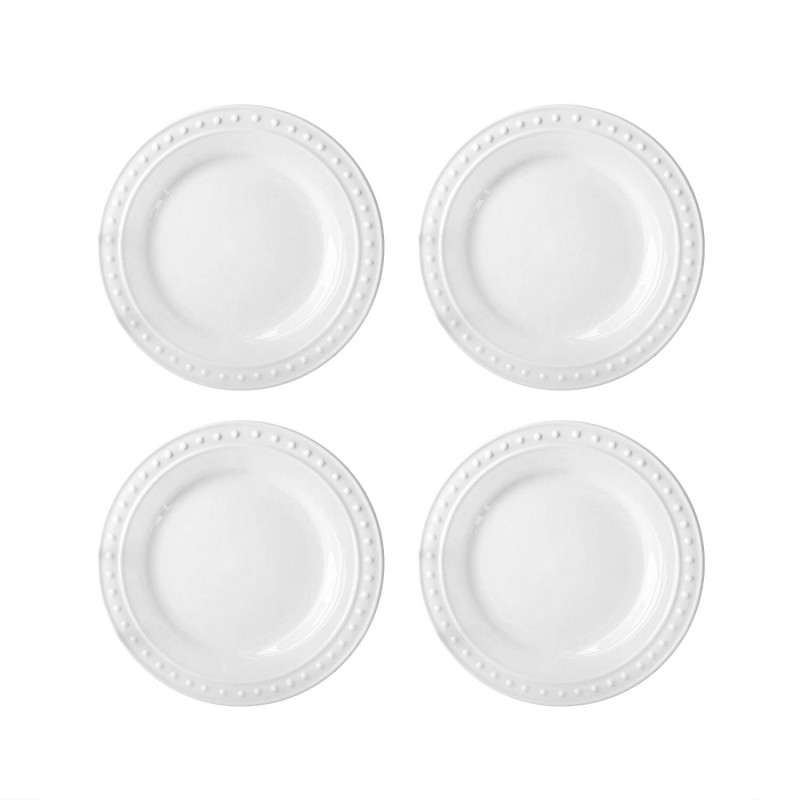Elle Decor 6830-4S Monique Salad Plates, White