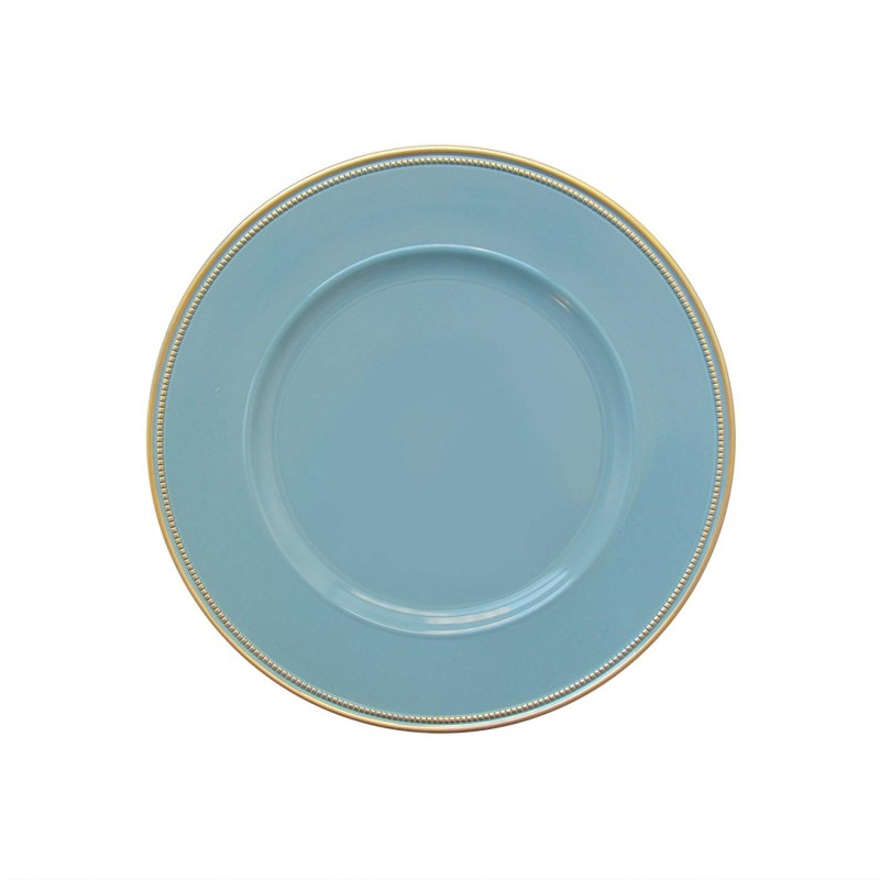 "Round Charger Plates 13"" Diameter, Set of 4 – BLUE/GOLD"