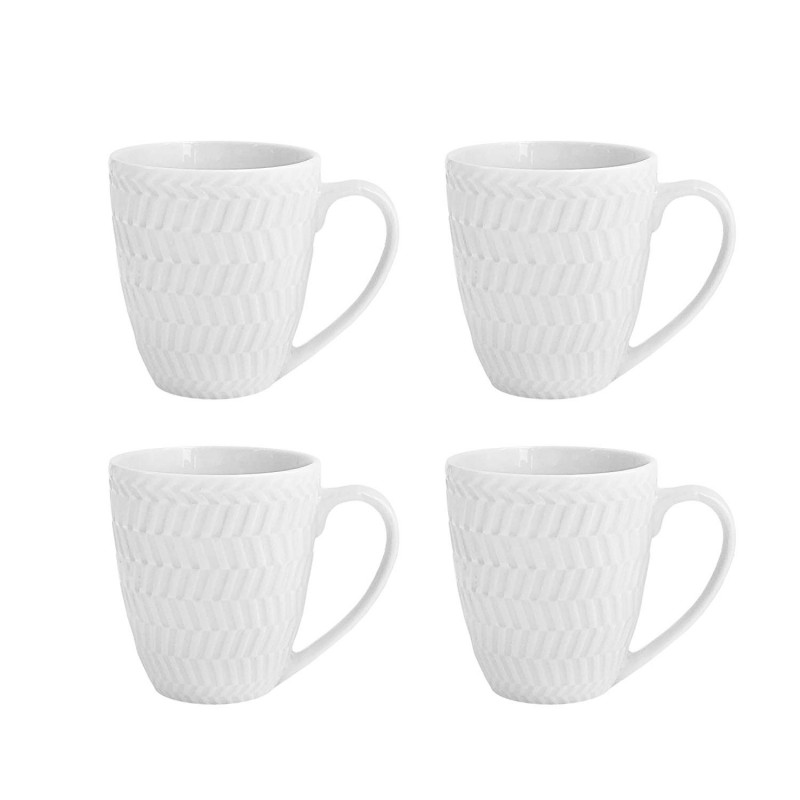 Elle Decor 6829-4M Bridgette Coffee Mugs, White