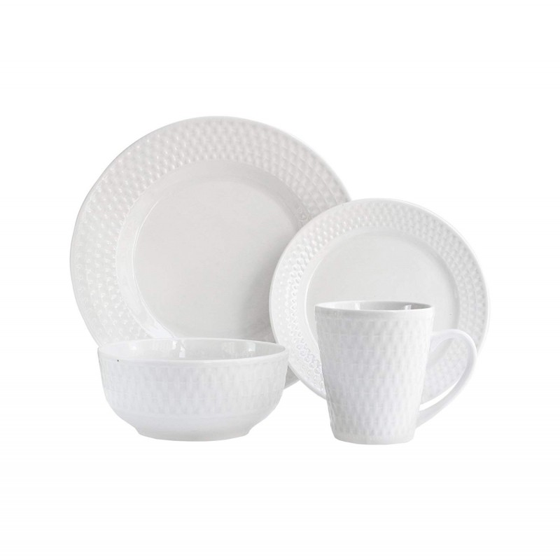 Elle Decor 6831-16-RB Juliette Porcelain Dinnerware Set, White