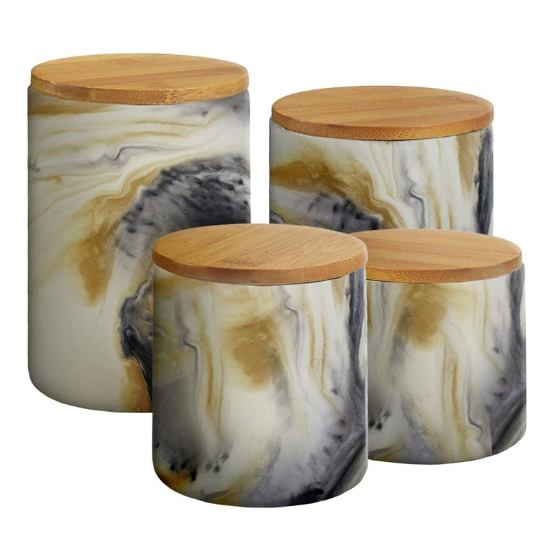 """American Atelier 1562505CANRB Marble 4 Piece Ceramic Canister Set with Lids, 17.2"""" x 4.3"""" x 5.9"""", Gray"""