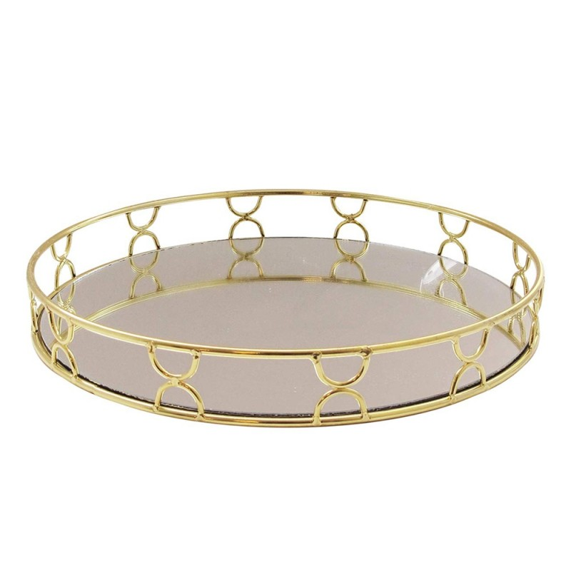 American Atelier Knots Electroplated Round Mirror Decorative Tray with Metal Rim - Gold
