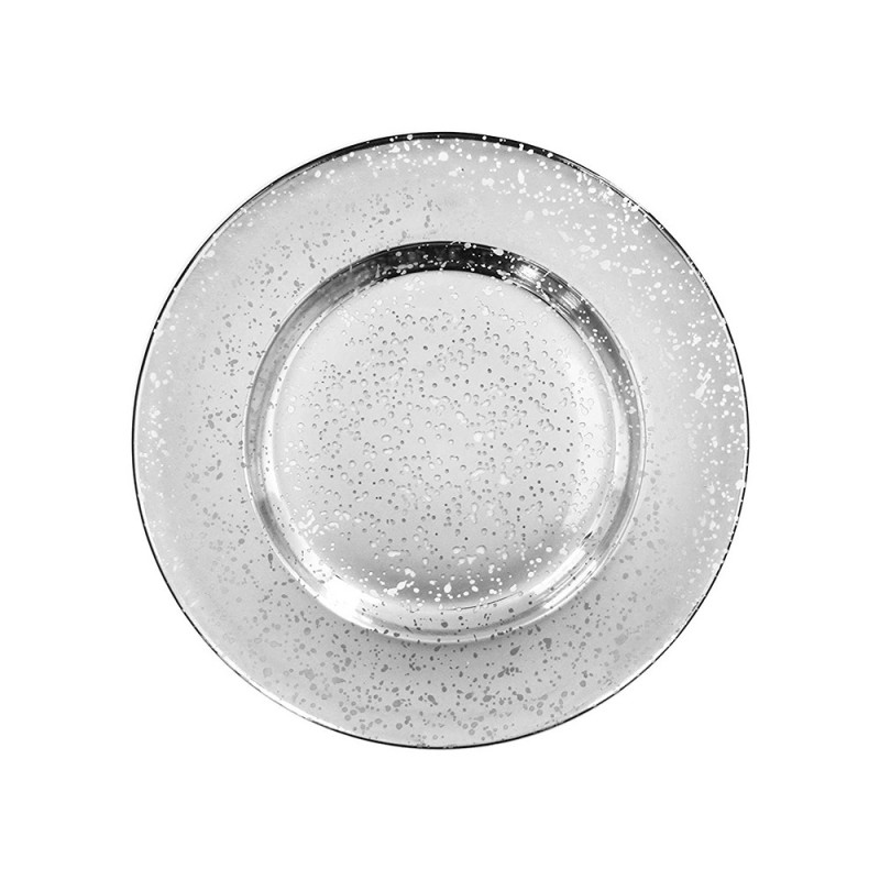 ChargeIt by Jay 1875012 Silver Speckled Glass Round Charger Plate