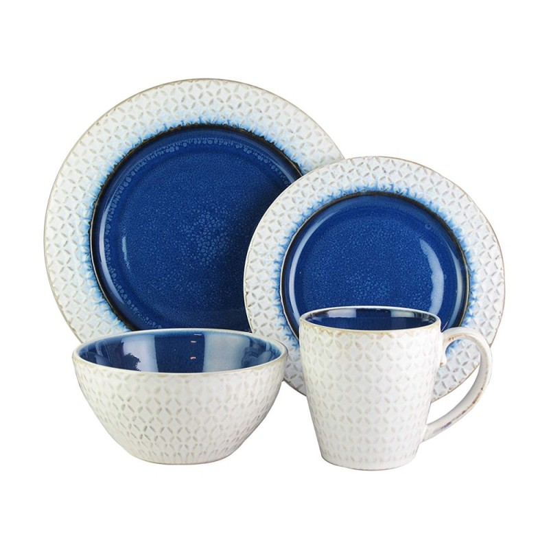 "American Atelier 6590-16BL-RB Piper 16 Piece Round Dinnerware Set 11"" x 11"" - Blue/White"