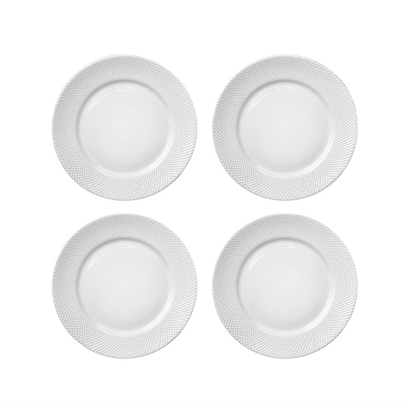 Elle Decor 6827-4S Chloe Set Salad Plates, White