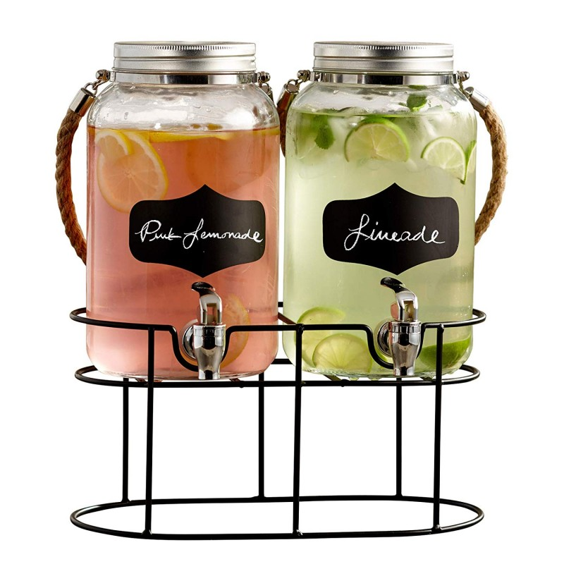 Style Setter Trent 210570-GB 3.8 Liters Each Glass Beverage Drink Dispenser Set with Metal Stand & Lid, 14 x 7.5 x 13, Clear