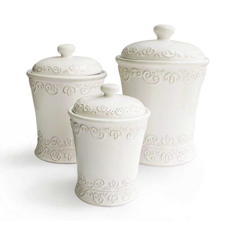 American Atelier Bianca Scroll Canisters, White, Set of 3